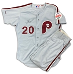 Mike Schmidt 1989 Philadelphia Phillies Game Used & Autographed Jersey & Pants - Excellent Example, Final Season (JSA)