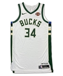 Giannis Antetokounmpo 2018-19 Milwaukee Bucks Game Used Jersey - MVP SEASON! Great Stats! PHOTO MATCHED (Resolution)