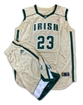 LeBron James St. Mary - St. Vincent Fighting Irish High School Game Used Gold Jersey & Shorts