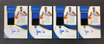 (4) Zion Williamson 2019-20 Panini Immaculate Rookie Auto Patch #d to 99