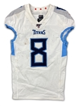 Marcus Mariota 2019 Tennessee Titans Game Used Jersey - 100th NFL Logo, 3 TDs! PHOTO MATCHED! (RGU)