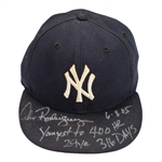 "Alex Rodriguez Record ""Youngest to #400 HR"" 2005 NY Yankees Game Worn & Autographed Batting Glove & Cap (A-Rod LOA)"