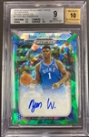 Zion Williamson 2019-20 Panini Prizm Draft Picks Green Cracked Ice Auto #d 4/18 graded BGS 9 Mint
