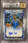 Zion Williamson 2019-20 Panini Prizm Draft Picks Blue Camo Auto #d 4/12 graded BGS 9 Mint