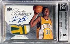 Kevin Durant 2007-08 Upper Deck Exquisite Collection Jersey Auto Patch /99 - BGS Mint 9 (Only 2 Graded Higher) ALTERED PATCH