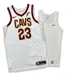 LeBron James 2017-18 Cleveland Cavaliers Game Worn Jersey & Undershirt (GF LOA) Bron wore this Style for One Season Only!
