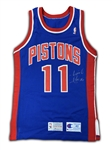 Isaiah Thomas 1992-93 Detroit Pistons Team Issued Signed Home Jersey (MEARS LOA, PSA)
